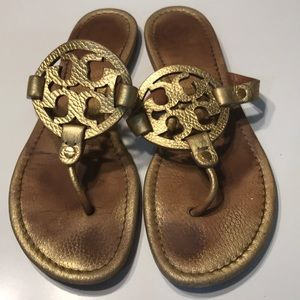 "Tory Burch Gold Leather Thong Sandals ""Medallion"""